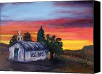 Rafael Gonzales Canvas Prints - Sunset on the Old Church Canvas Print by Rafael Gonzales