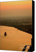 Linda Knorr Shafer Canvas Prints - Sunset On The River Canvas Print by Linda Knorr Shafer