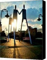 South Philadelphia Canvas Prints - Sunset on the Strollers on South Street Bridge Canvas Print by Andrew Dinh