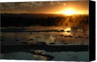 Yellowstone Park Canvas Prints - Sunset Over Great Fountain Geyser in Yellowstone National Park Canvas Print by Bruce Gourley
