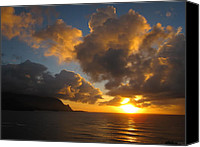 Tropical Sunset Canvas Prints - Sunset over Hanalei Bay Canvas Print by Jo L
