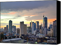 Building Canvas Prints - Sunset Over  Makati City, Manila Canvas Print by Neil Howard