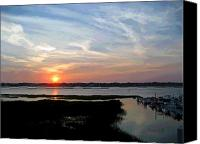 Lowcountry Canvas Prints - Sunset Over Murrells Inlet II Canvas Print by Suzanne Gaff