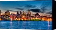Waterfront Canvas Prints - Sunset over philadelphia Canvas Print by Louis Dallara