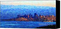 City Of Bridges Canvas Prints - Sunset Over San Francisco Bay Canvas Print by Wingsdomain Art and Photography