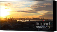 Industrial Ship Canvas Prints - Sunset Over San Francisco Skyline Through The Port of Oakland . 7D11029 Canvas Print by Wingsdomain Art and Photography