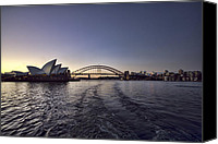 Sydney Skyline Canvas Prints - Sunset over Sydney Harbor Bridge and Sydney Opera House Canvas Print by Douglas Barnard
