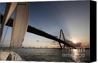 Charleston Sailboat Tours Canvas Prints - Sunset Over the Cooper River Bridge Charleston SC Canvas Print by Dustin K Ryan