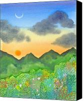 Crescent Moon Canvas Prints - Sunset over the forest- cloaked mountains Canvas Print by Jennifer Baird
