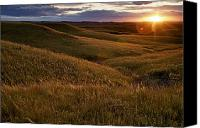 Grasses Canvas Prints - Sunset Over The Kansas Prairie Canvas Print by Jim Richardson