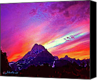 Alpine Mixed Media Canvas Prints - Sunset Over the Sierras Canvas Print by Nadine and Bob Johnston