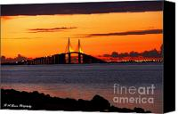 Florida Bridge Photo Canvas Prints - Sunset over the Skyway Bridge Canvas Print by Barbara Bowen