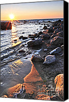Pebbles Canvas Prints - Sunset over water Canvas Print by Elena Elisseeva