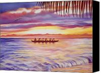Sports Art Painting Canvas Prints - Sunset Paddlers Canvas Print by Barbara Eberhart - Printscapes