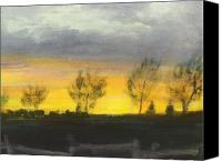 Rafael Gonzales Canvas Prints - Sunset Ranch Canvas Print by Rafael Gonzales