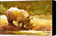 Watercolor Canvas Prints - Sunset Rhino Canvas Print by Brian Kesinger