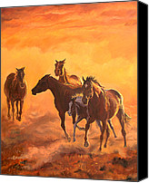 Foal Painting Canvas Prints - Sunset run Canvas Print by Jana Goode