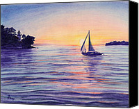 Idyllic Drawings Canvas Prints - Sunset Sailboat Canvas Print by Diane Bay