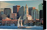 Sailboat Canvas Prints - Sunset Sails on Boston Harbor Canvas Print by Susan Cole Kelly