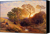 Setting Painting Canvas Prints - Sunset Canvas Print by Samuel Palmer