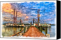 Florida Bridge Canvas Prints - Sunset Shrimping II Canvas Print by Debra and Dave Vanderlaan