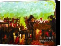Marilyn Sholin Canvas Prints - Sunset Terrace Intimacy Canvas Print by Marilyn Sholin