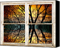 James Insogna Canvas Prints - Sunset Tree Silhouette Abstract Picture Window View Canvas Print by James Bo Insogna