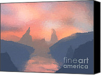 The Lord Of The Rings Canvas Prints - Sunset valley  Canvas Print by Pixel  Chimp