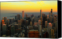 Chicago Canvas Prints - Sunset View At Chicago Canvas Print by Acroview