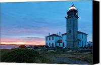 Aid Canvas Prints - Sunset View of the Beavertail Lighthouse Canvas Print by George Oze