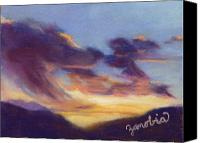 Landscapes Pastels Canvas Prints - Sunset West of Town Canvas Print by Zanobia Shalks