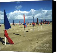 Seas Canvas Prints - Sunshade on the beach. Deauville. Normandy Canvas Print by Bernard Jaubert