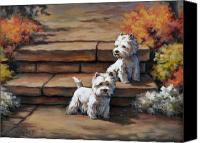 Westies Canvas Prints - Sunshine and Shadow--Westies Canvas Print by Alice Taylor