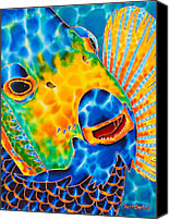 Silk Postcard Tapestries - Textiles Canvas Prints - Sunshine Angelfish Canvas Print by Daniel Jean-Baptiste
