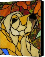Dogs Glass Art Canvas Prints - Sunshine Canvas Print by Ladonna Idell