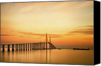 Dawn Canvas Prints - Sunshine Skyway Bridge Canvas Print by G Vargas