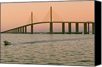 Florida Bridge Photo Canvas Prints - Sunshine Skyway Bridge Canvas Print by Ixefra
