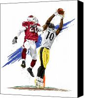Football Digital Art Canvas Prints - Super Bowl MVP Santonio Holmes Canvas Print by David E Wilkinson