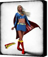 Super Heroe Canvas Prints - Super Girl Canvas Print by Frederico Borges