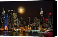 Times Square Photo Canvas Prints - Super Moon Over NYC Canvas Print by Susan Candelario