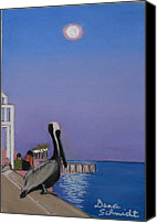 Moonlight Pastels Canvas Prints - Super Moon Over St. Pete Canvas Print by Dana Schmidt