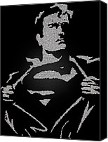 Black And White Digital Art Drawings Canvas Prints - Superman Stripping Canvas Print by Robert Margetts