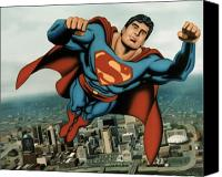 Surreal  Canvas Prints - Superman Canvas Print by Van Cordle