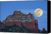 Red Rock Formations Canvas Prints - Supermoon Canvas Print by Ellen Henneke