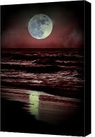 Ocean Scene Canvas Prints - Supermoon Over the Ocean Canvas Print by Emily Stauring