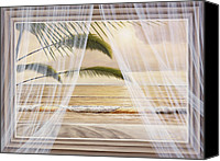 Landscape Canvas Prints - Surf and Palms Canvas Print by Diane Romanello