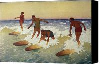 Hawaiian Vintage Art Canvas Prints - Surf-Riders Canvas Print by Hawaiian Legacy Archive - Printscapes