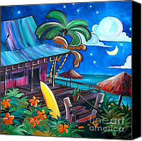Surf Art Canvas Prints - Surf Shack Canvas Print by Jerri Grindle