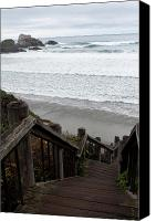 Cambria Photo Canvas Prints - Surf Stairway Canvas Print by Lorraine Devon Wilke