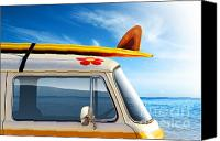 Yellow Canvas Prints - Surf Van Canvas Print by Carlos Caetano